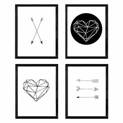 lamina de estilo nordico en blanco y negro, corazones, flechas, Formas geometricas
